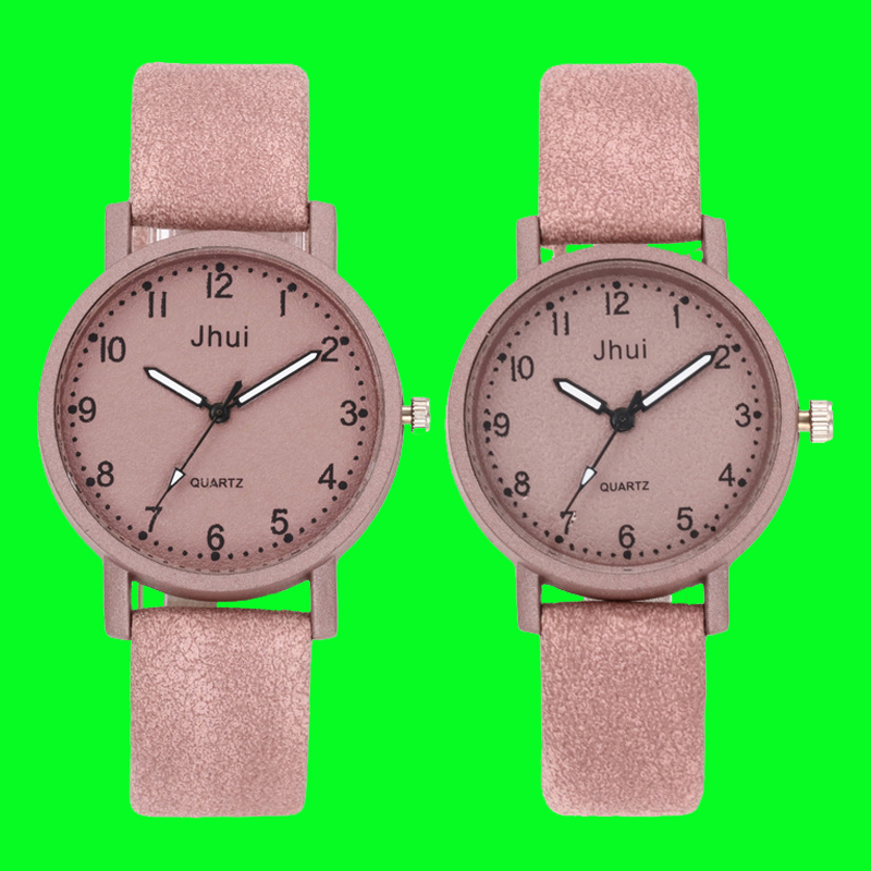 2019 Fashion Round Couple Watch Hot Sale Black And White Brown Dial Leather Pointer Male And Female Student Temperament Watch