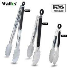 WALFOS-pinzas metálicas de acero inoxidable para barbacoa, pinzas para cocinar ensalada