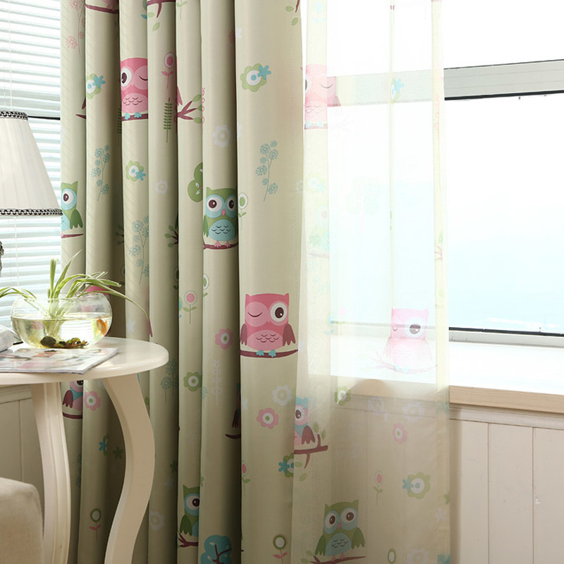 Hanging Blackout Windows Curtain For Kids Rooms Kitchen Modern Tulle Curtains In The Living Room Bedroom Owl Printing Curtains