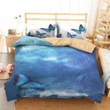Double Bedspread 3D Home Textiles Blue Butterfly Printed Bedroom Clothes Girl Bedding King Single Size Bed Linens