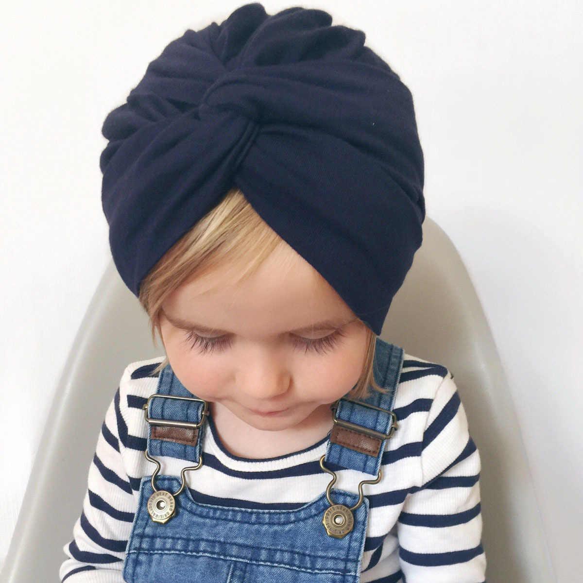 חמוד כותנה תערובת תינוק טורבן כובע יילוד כפת כובעי ילדי בנות בארה פעוט מקלחת כובע מתנת יום הולדת אבזרי תמונה