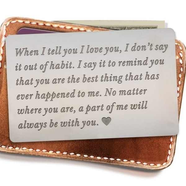 Mini Love Note Boyfriend Gifts Engraved Wallet Inserts Permanent Engraving Anniversary Gifts for Men Husband Gifts party favors