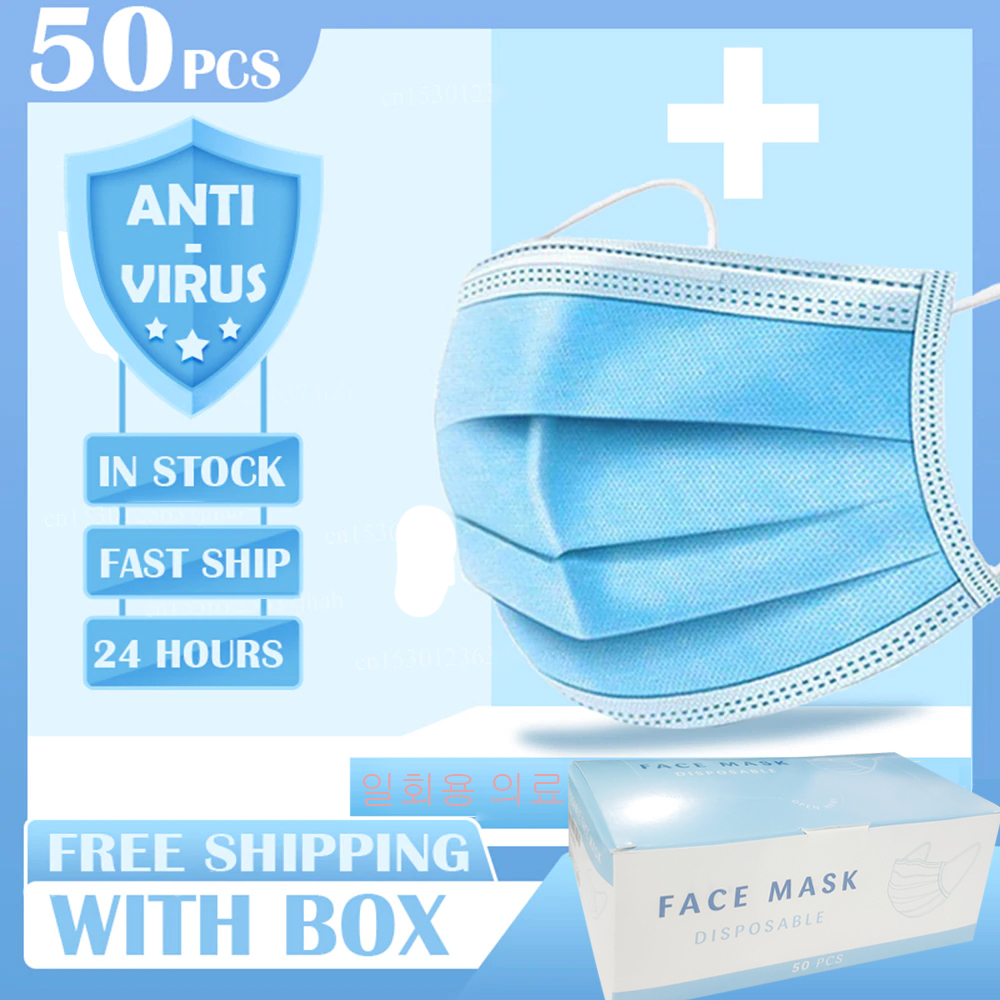 200/pcs Disposable 3 Laye Mask Dust Protection Mask Prevent Flu Filter Surgical Mask Protection Antibacterial Antivirus Masks