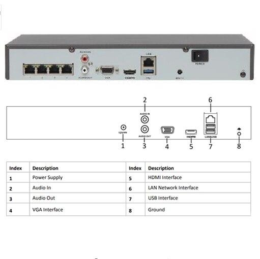 Hikvision OEM NVR DT604-H1/P4 = DS-7604NI-K1/4 P 4CH POE 8MP 4K Rekord für POE Kamera sicherheit Netzwerk Video Recorder.