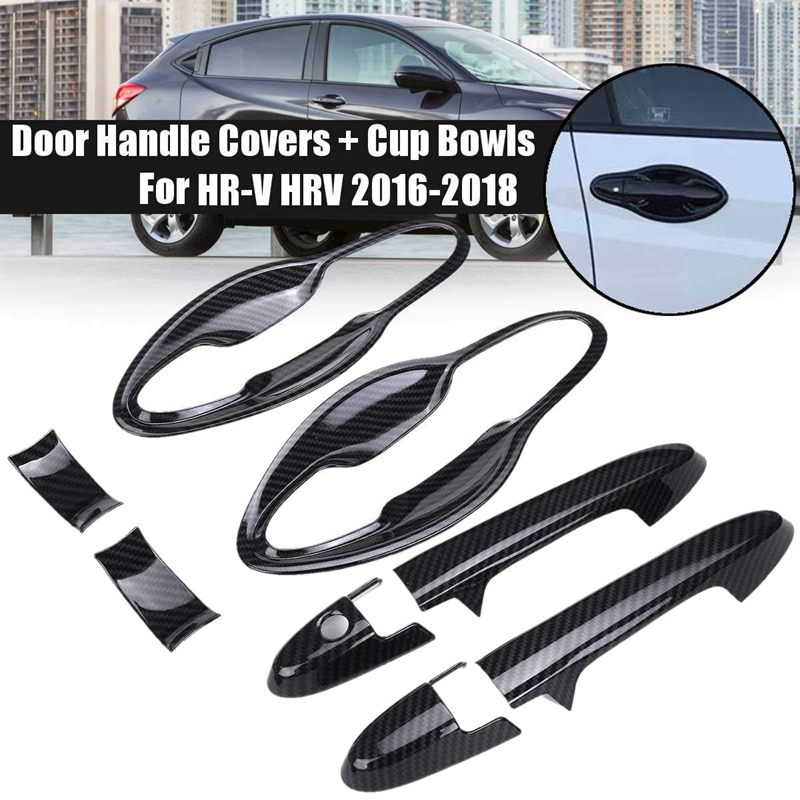 Car Carbon Fiber Front Left Right <font><b>Door</b></font> <font><b>Handle</b></font> Cup Bowls Covers Sticker for <font><b>Honda</b></font> HR-V <font><b>HRV</b></font> 2016 2017 2018 image