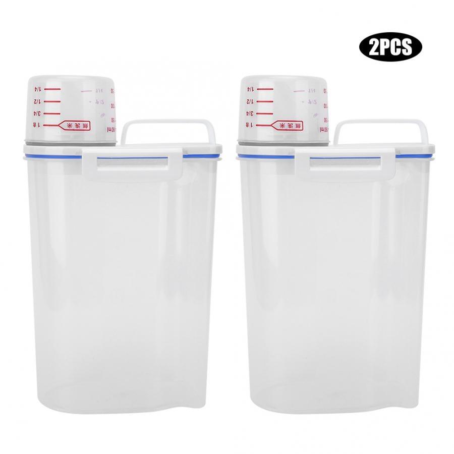 2pcs Plastic Cereal Storage Box 2L Eco Friendly Kitchen Food Grain Rice Container Dispenser Cuisine Fridge Organizers Measuring
