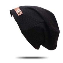 все цены на New Letters Autumn Turban Cap Casual Unisex Hip-Hop Cap Knit Beanie Hats For Women Men Winter Beanies Caps онлайн