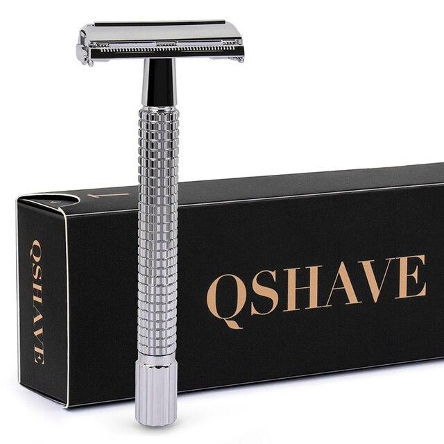 Qshave ダブルエッジ安全かみそりロングハンドル蝶 Open クラシック安全かみそりシルバー色、 1 ハンドル & 5 ブレード