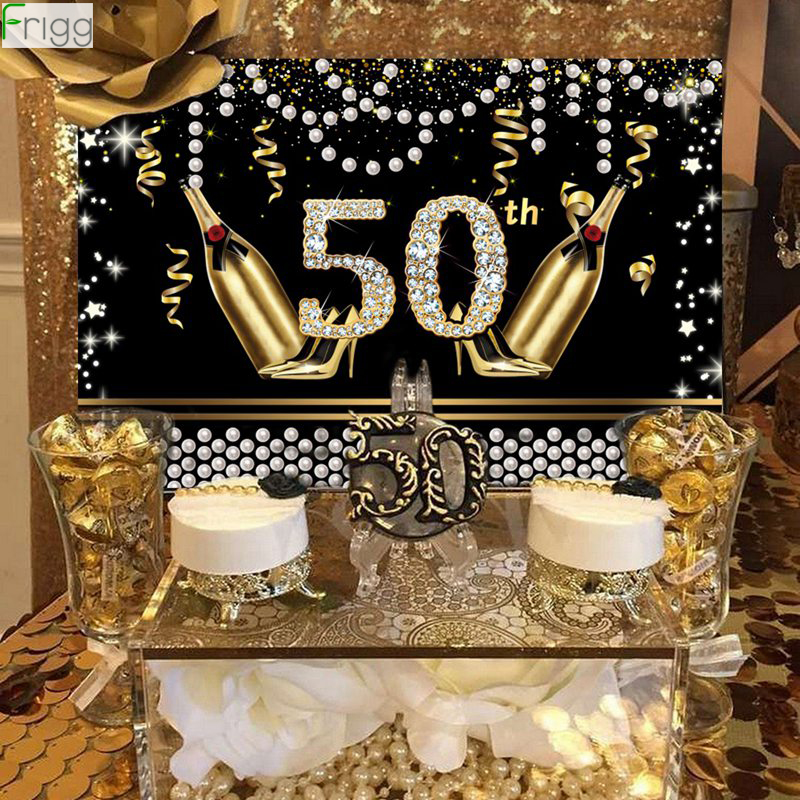 Blackgold Happy <font><b>Birthday</b></font> Backdrop 50 40 30 <font><b>18</b></font> <font><b>Birthday</b></font> Party <font><b>Decor</b></font> Adult 50th 30th 40th <font><b>Birthday</b></font> Anniversary 50th Party Supplies image