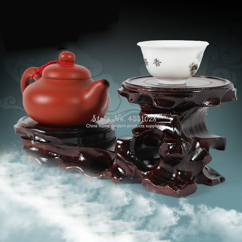 Wooden Display Stands Annatto Pedestal Teapot Vase Bonsai Base Retro Home Decor