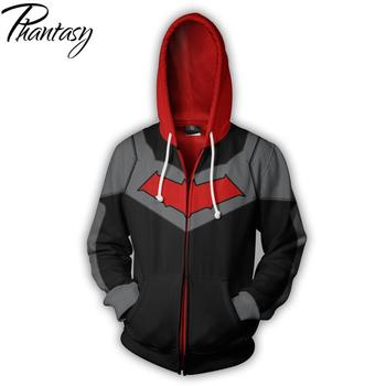 Phantasy Fashion Mens Hoodies DC Comic 3D Print Zipper Hooded Sweatshirt Coat Super Hero Cardigan Jacket Clothing Blue Red