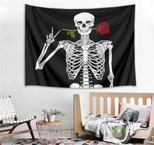 Funny Skeleton Tapestry Wall Hanging Rose Flower Mandala Blanket Throw Home Dorm Decor Bedroom Living Room Skull Wall Tapestry 1ps bohemia mandala blankets tapestry elephant wall hanging wandbehang gobelin blanket dorm home decor mantas mandalas