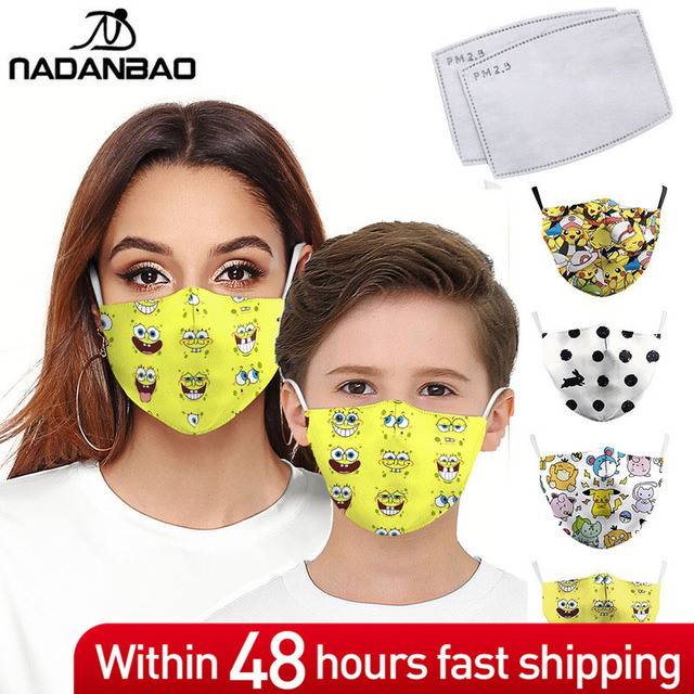 NADANBAO Cute Yellow Bob Kids Mouth Masks Cartoon Print Face Children Mask Fabric Adult Mouth Cover Women Reusable Mask