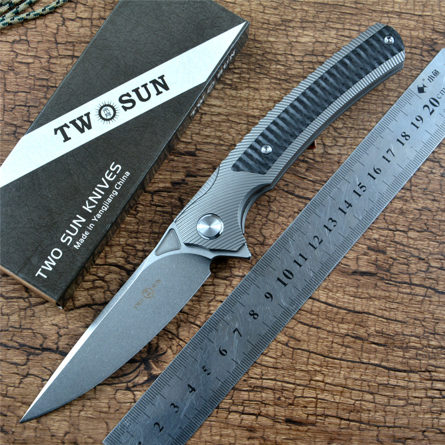 TWOSUN Knife M390 Folding Pocket Tactical Outdoor Hunting Survival Tool EDC Titanium Carbon Fiber TS81 for Gift Collection