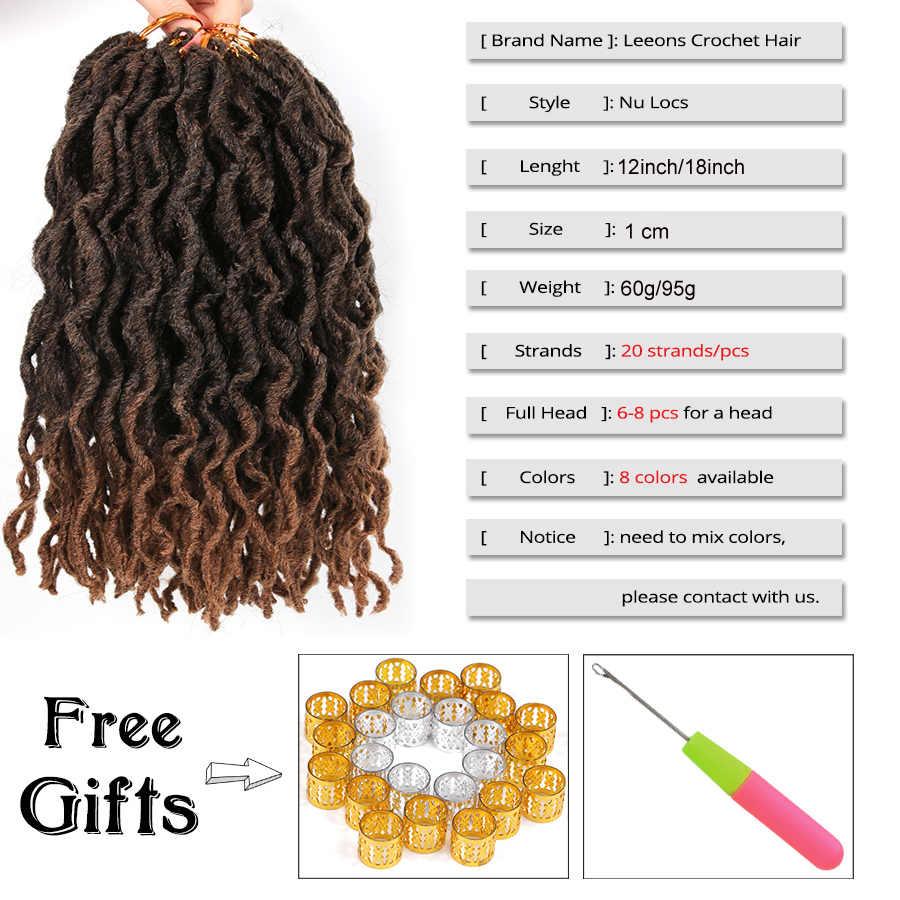 Leeons gorąca sprzedaży 12/18 Cal Ombre Faux Locs szydełkowe warkocze miękkie naturalne Pre zapętlone włosy syntetyczne do warkoczy rozszerzenie Dreadlocks