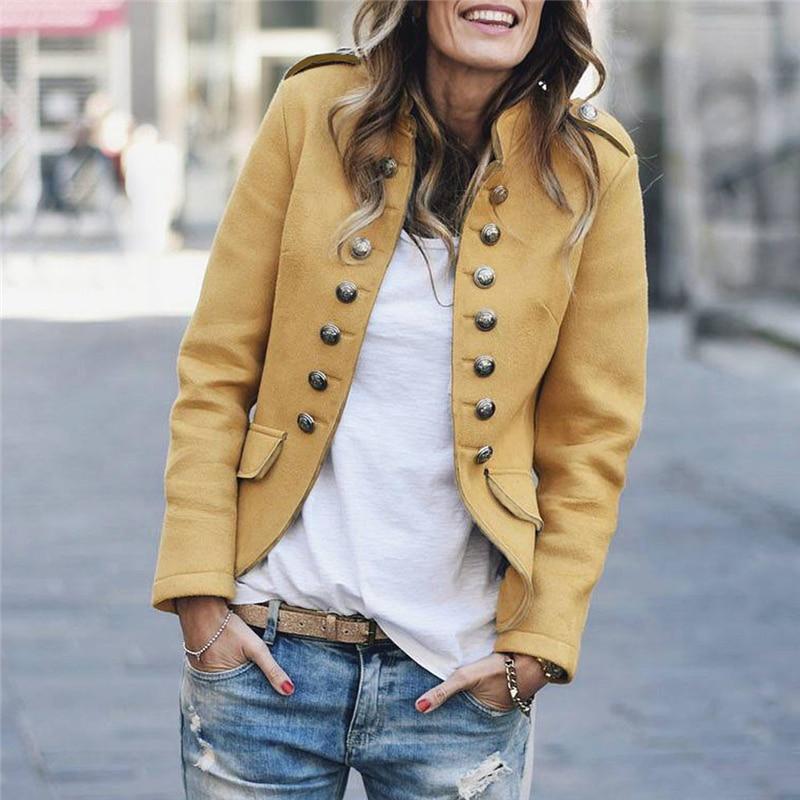 Winter Fashion Womens Retro Button Blazer Ladies Pockets Bomber Jacket Casual Coat Outwear Manteau femme