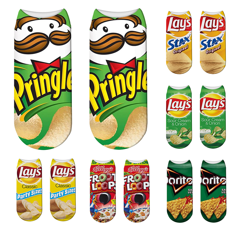 Fashion 3D Printed Women Short Socks Creative Potato Chips Pattern Funny Happy Colorful Summer Breathable Low Ankle Socks Gift