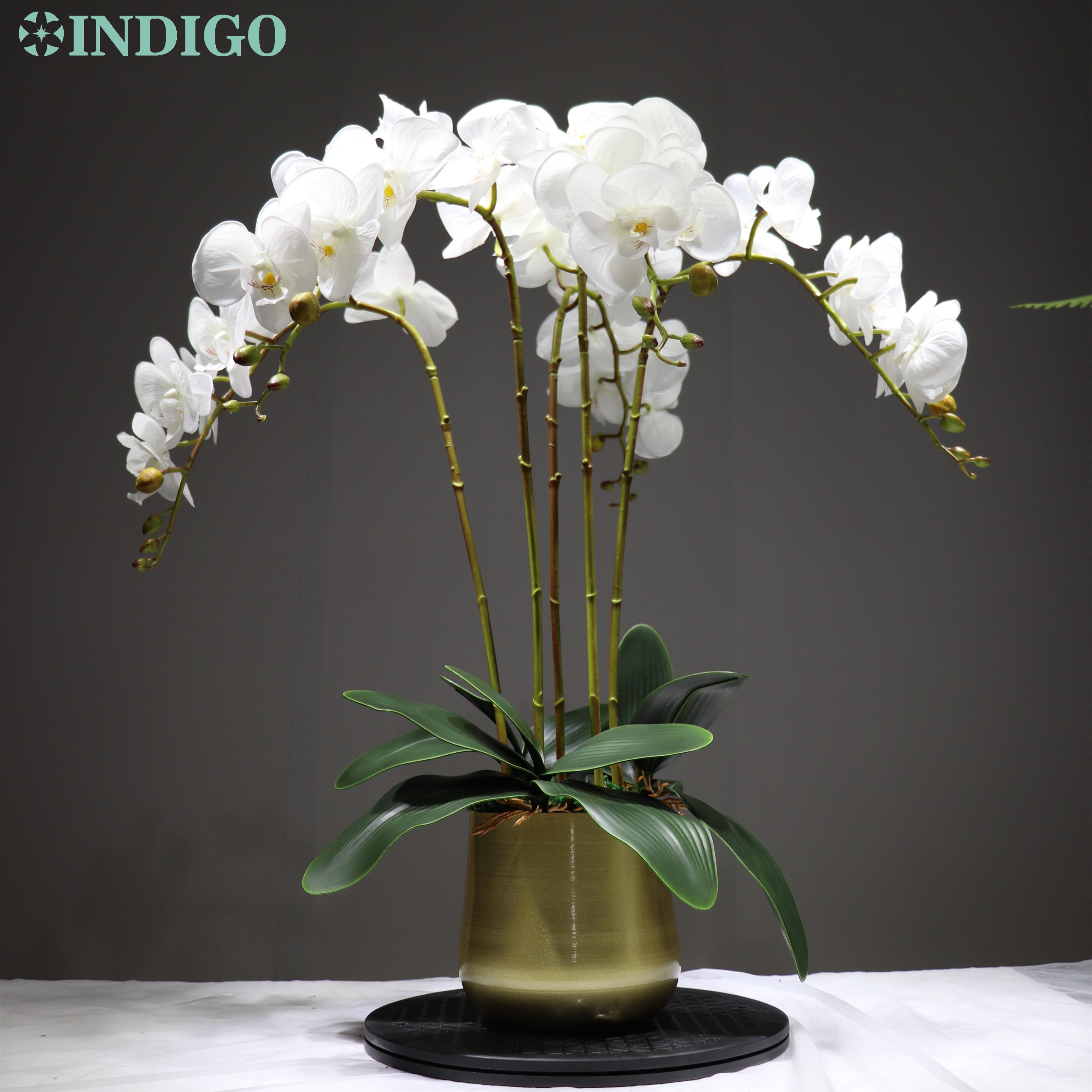 Индиго фаленопсис орхидеи реального касания, цветок белый искусственный цветок свадебный цветок орхидеи, цветочный для рождественской веч...