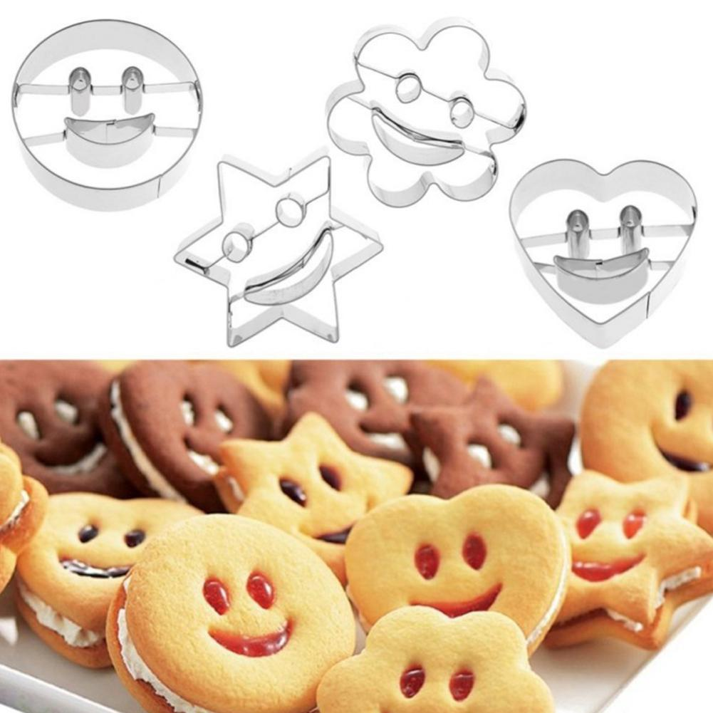 4Pcs/Set Stainless Steel Baking Mould Smiling Face Cookie Molds Egg Vegetables Cookie Cutter Biscuit DIY Mold Baking Tools