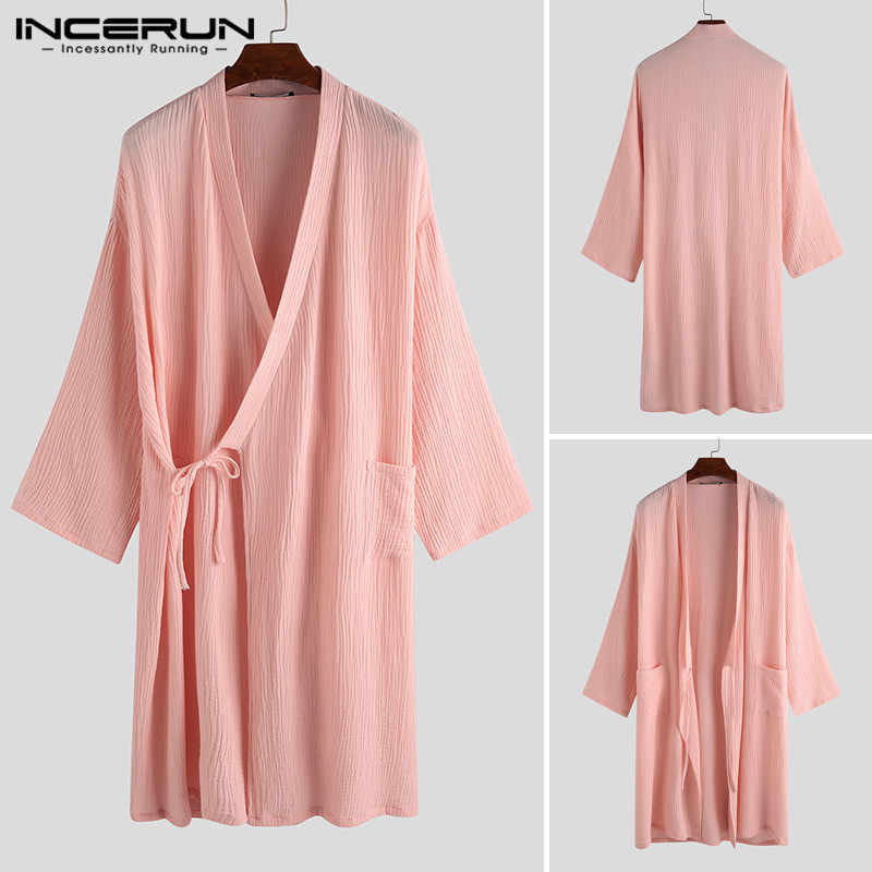 INCERUN Mens Bathrobe Casual Loose Cotton Half Sleeve Men Kimono Summer Breathable Unisex Pajamas Judo Martial Arts Uniform