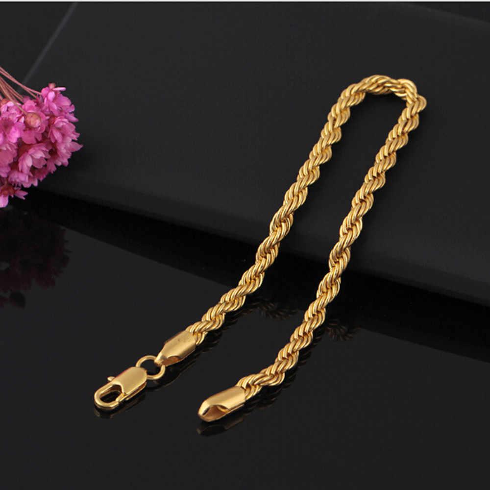 צמידים לנשים pulseira masculina אביזרי זהב טוויסט סגסוגת צמיד צמיד שרשרת מתנת יום הולדת מזכרות זהב