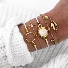 Double Fair Retro Bracelet For Women 5 pcs/set Starfish Shells Anklet Bracelets Gold-Color Fashion Jewelry KAH145 Amazing Price(China)