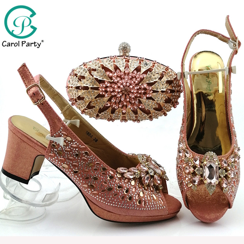 Peach Color 2019 African Shoes For Women Shoes Bag Set Evening Comfortable Heel Italian Design Shoes With Matching Bag