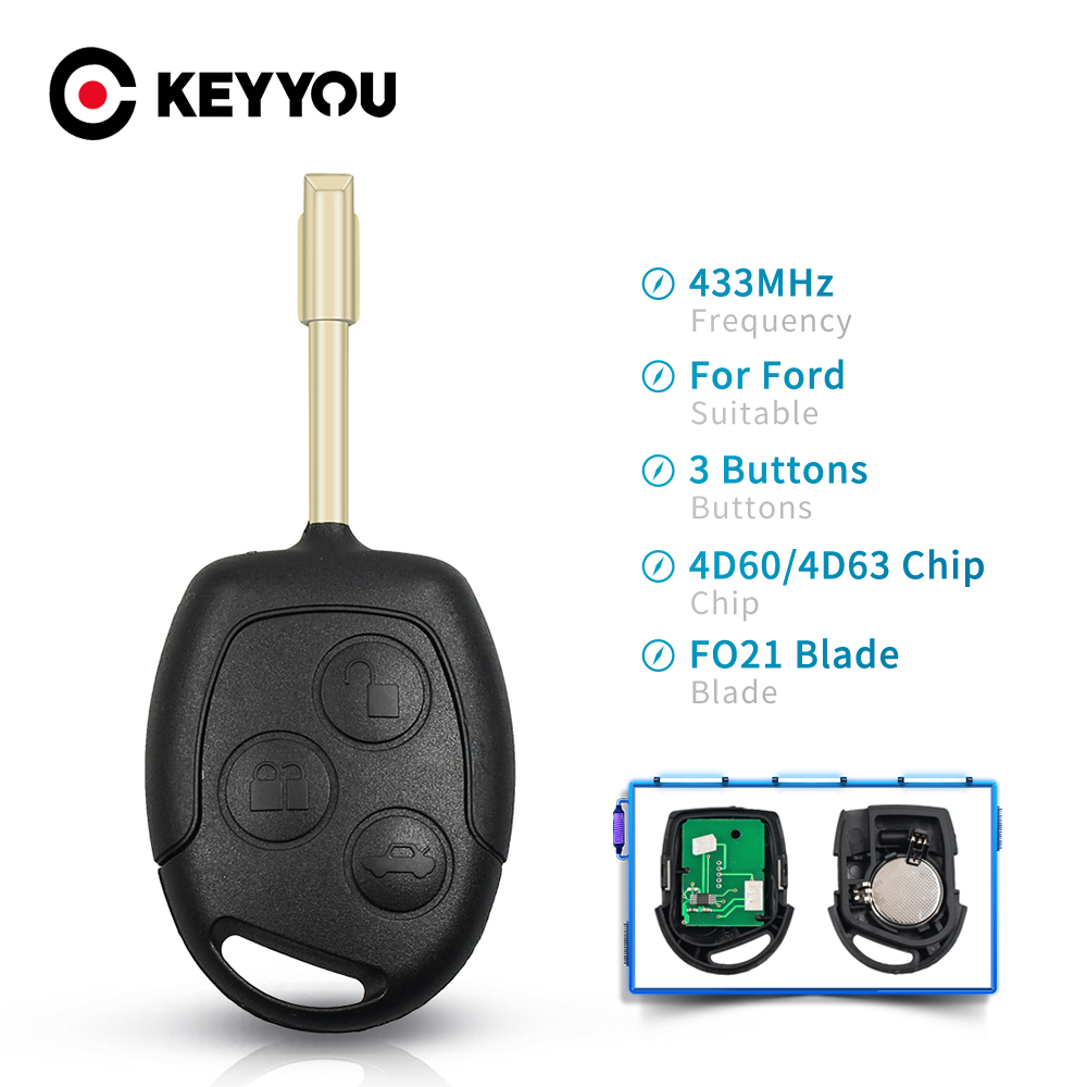 KEYYOU транспондер 4D60/4D63 чип 433 МГц сменный удаленный ключ для Ford Focus Fusion Mondeo Fiesta Galaxy 3 кнопки FO21 Blade