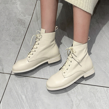 Plus Size 34-42 New Genuine Leather Women Boots Fashion Winter Lace Up Classic Shoe Ankle Boots Flats Casual Shoes Boots Woman lakeshi round toe women boots winter boots female ankle boots women fashion lace up casual shoes woman plus size cotton shoes