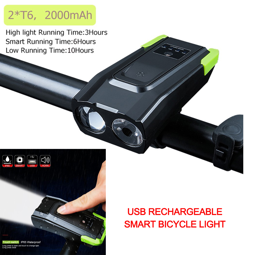 4000mAh Induction Bicycle Front <font><b>Light</b></font> <font><b>Set</b></font> <font><b>USB</b></font> Rechargeable Smart Headlight With Horn 15000 Lumens LED <font><b>Bike</b></font> Lamp Cycle <font><b>bike</b></font> <font><b>Light</b></font> image