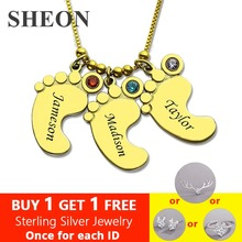 SHEON Genuine 925 Sterling Silver Gold Baby Feet Charm Birthstone Mother Necklace Personalized Kids Name Necklace Silver Jewelry