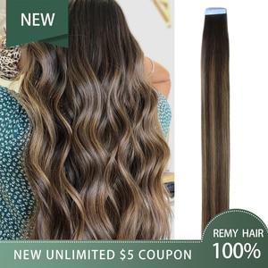 Hiart 2G Tape Hair Extensions Fabriek Balayage Menselijk Remy Kapsalon Double Drawn Steil Haar Uitbreiding Plakband 18
