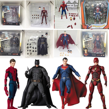 15cm Justice League Super Hero Batman Flash Wonder Woman Superman PVC Action Figure Toys Joint movable collectible model toys