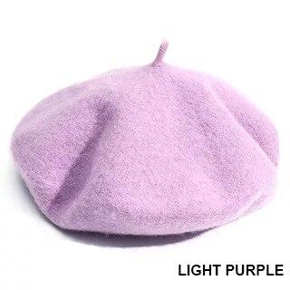 Женский берет для девушек, французский артист, теплая шерстяная зимняя шапка, шапка, винтажный однотонный берет, одноцветная элегантная женская зимняя шапка s - Цвет: Light purple