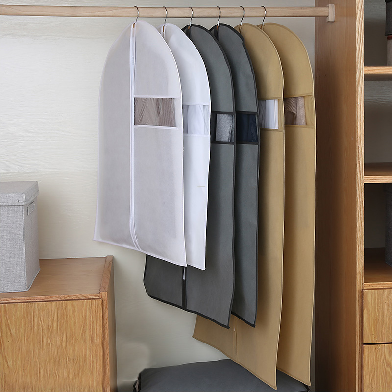 Non-woven Clothes Dust Cover Fabric Case For Household Hanging-type Coat Suit Protect Storage Bag Wardrobe Organizer Hanger