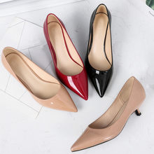Big Size Women High Heels 2021 Spring Atumn Basic Office Ladies Shoes Pumps Fashion Pointed Concise Patent Leather Shoes O0012