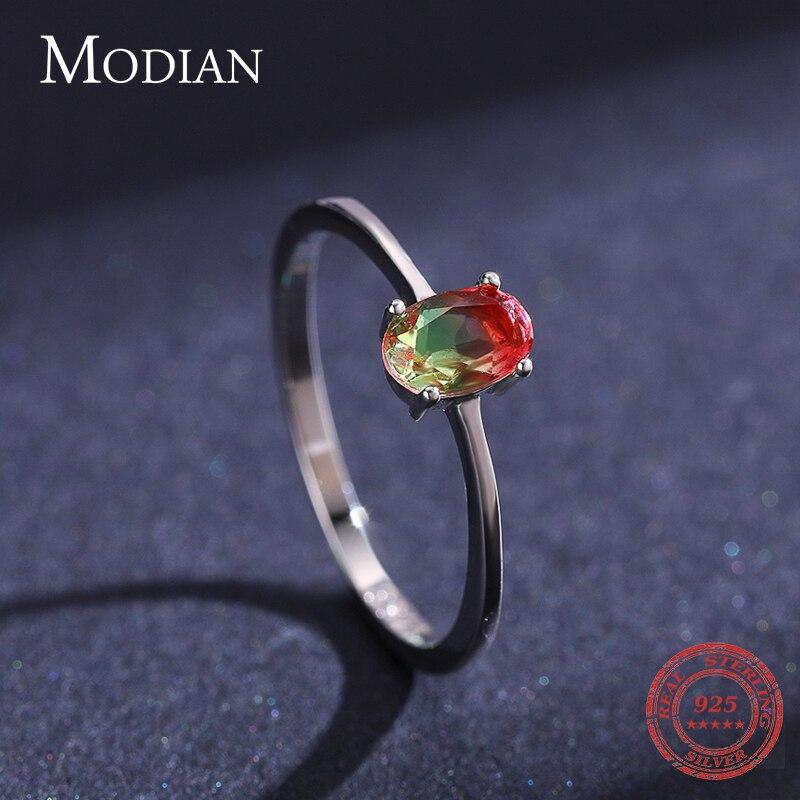 Modian 925 en argent Sterling coloré pastèque Tourmaline anneaux pour les femmes mode bande de doigt Fine bijoux Style coréen Anel 5