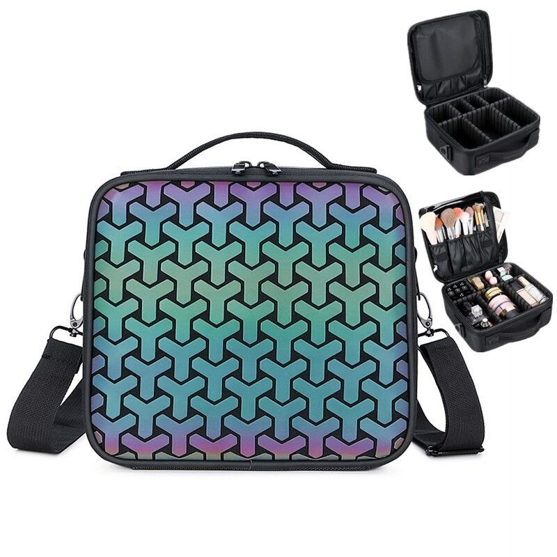 Hot Sale 2020 Women Daily Cosmetic Bag Fashion Luminous Makeup Bags Patchwork Plaid Portable Toiletries Organizer Make Up Cases