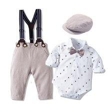 Комбинезон с бантом для мальчиков, Весенний костюм джентльмена с принтом, хлопковое боди для малышей, длинное Боди для младенцев