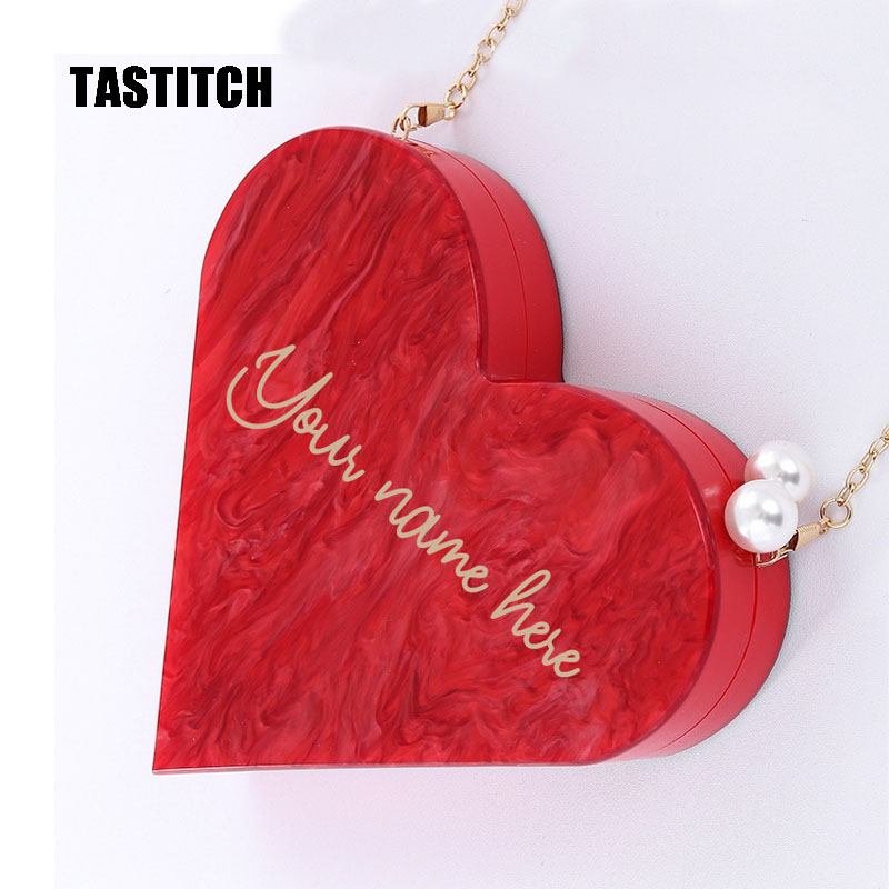 Personalized Acrylic Clutch New Fashion Classic Heart Shape Acrylic Bags Unique Red Pearl Evening Clutches  Party Prom Handbag