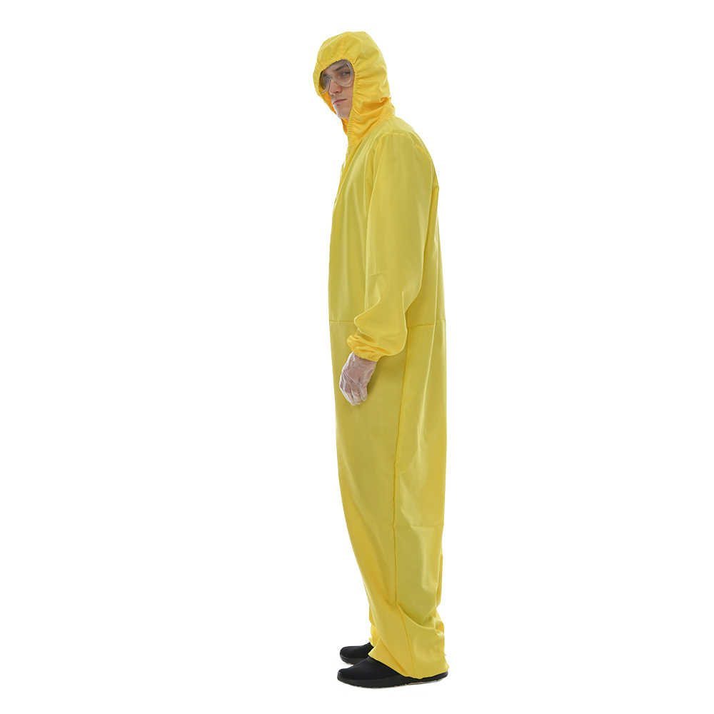 2020 Men/'s Yellow Biohazard Jumpsuit Costume with Goggles Halloween Outfits