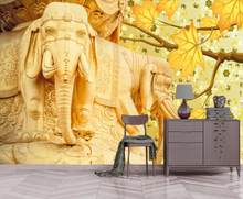 3d wallpaper customize Embossed golden three-dimensional elephant wallpapers for living room bedroom home improvement wallpaper(China)