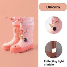 Botas de lluvia para niños y niñas, botas de goma con dibujo de unicornio, impermeables, no incluidas