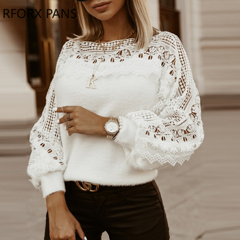 Solid Guipure Lace Lantern Sleeve Sweater  Long Sleeve Sweater Women Top lace applique lantern sleeve cold shoulder top