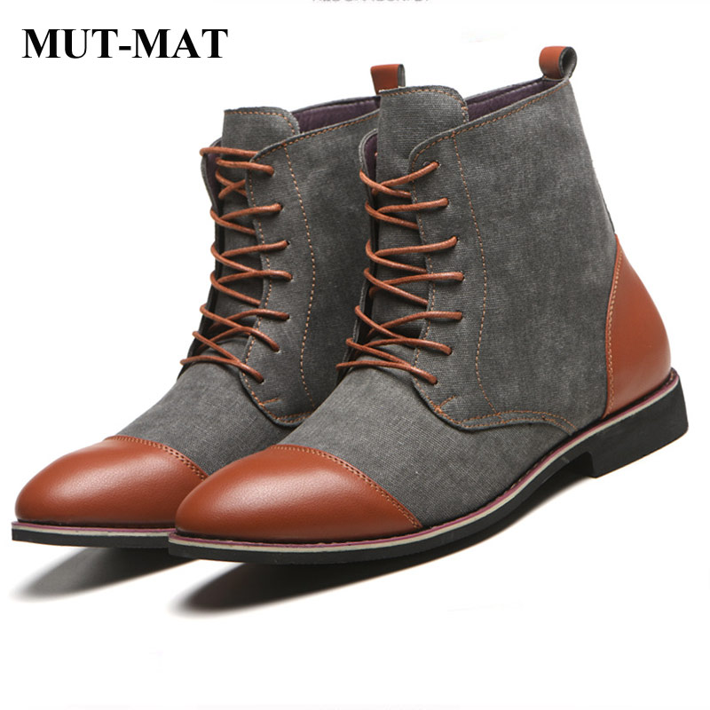 Plus Size (38-48) Martin Boots Men Shoes Rome Fashion Martin Canvas Boots Autumn Lightweight Shoes Lace-up Mixed Color Boots