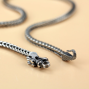 Image 4 - Mens 925 Thai Silver Chain Necklace Ethnic Dragon Design Craft 925 Sterling Silver Popular Necklace Body Jewelry 56CM/61CM/66CM