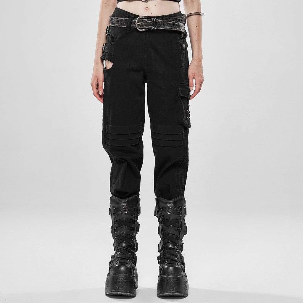 Punk Rave Women's Goth Hollow Out Ankle Black Cargo Pants WK401