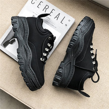 New Mens Vulcanize Shoes 2019 Autumn Winter Fashion Platform Lace Up Balck Sneakers Wear-Resisting Female Causal Shoe