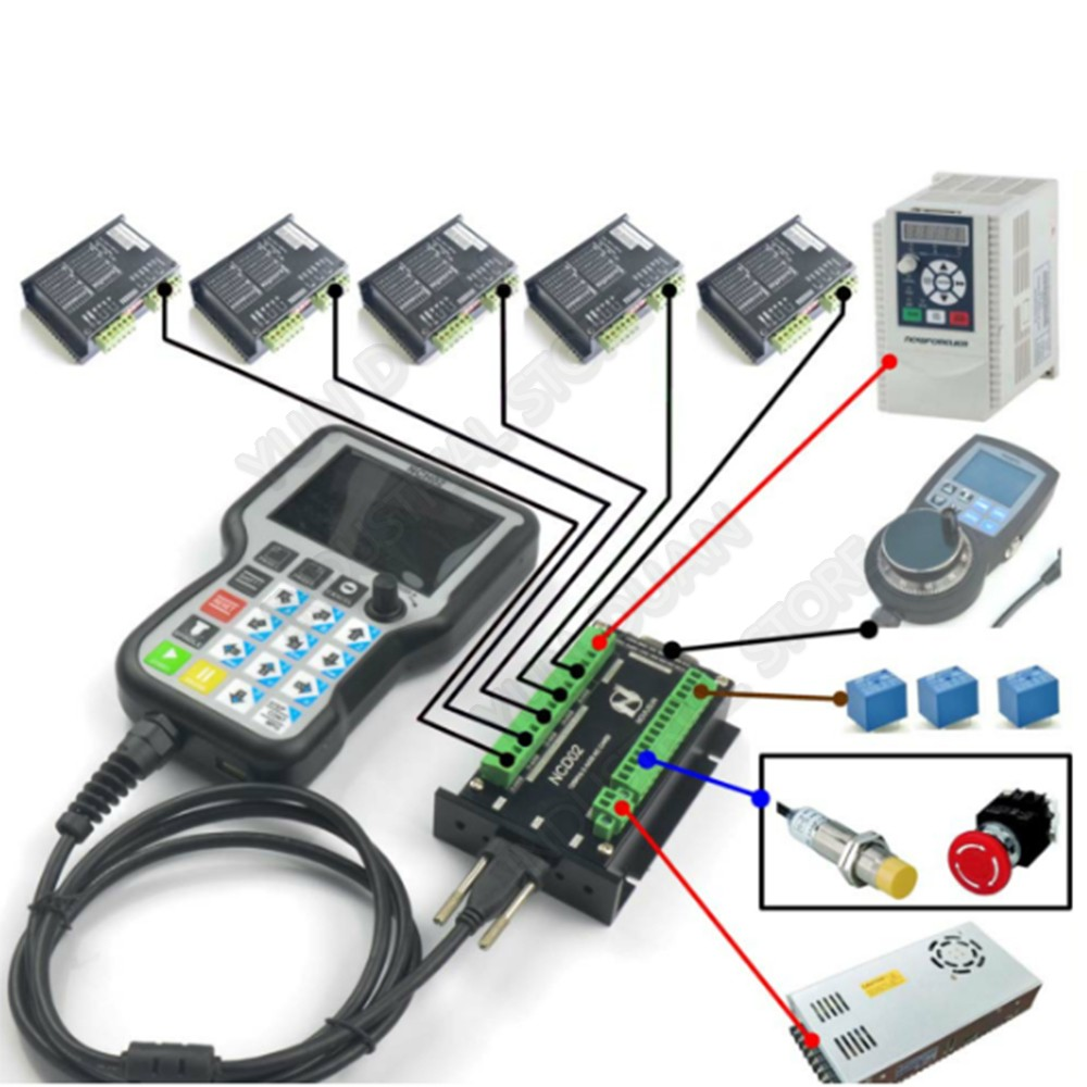 3 4 5 Axis Handheld Offline CNC Motion Controller G Code USB  Handle Remote Button MPG For Stepper Servo Motor CNC Engraving