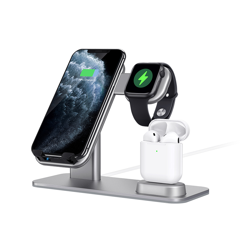 15W Aluminum 3 in <font><b>1</b></font> Wireless Charger Qi Fast Charging Stand For <font><b>iPhone</b></font> 11 Pro Xs Max XR For iWatch <font><b>5</b></font> 4 3 2 <font><b>1</b></font> For AirPods <font><b>1</b></font> 2 Pro image